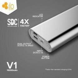 Hippo Power Bank ILO V1 15000mAh / 15000 mah Garansi Resmi - Silver Dual USB Real Capacity