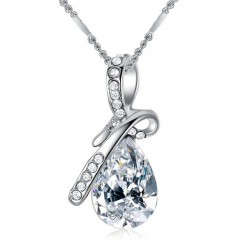 Kalung Korea Cinta 2019 Angel Tears Drop Crystal Necklace Female Short Clavicle Chain Birthday Gift
