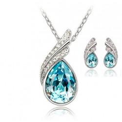 Kalung 2019 Korean Pop Crystal Necklace Earrings Piaoye Set Crystal Jewelry Set