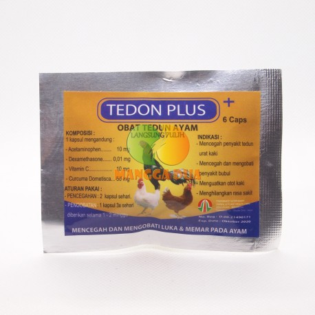 Tedon Plus 6 Capsul Original - Mencegah Dan Mengobati Luka Kena Taji, Paruh, dan Memar Pada Ayam Aduan