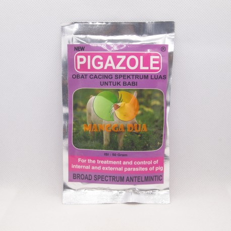 New Pigazole 50 Gram Original - Obat Anti Cacing Antelmintik Anthelmintic Spektrum Luas Parasit Babi