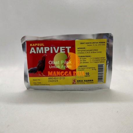 Ampivet 10 Kapsul Original - Vitamin Obat Pilek untuk Ayam dan Infeksi CRD Cholera Blue Comb